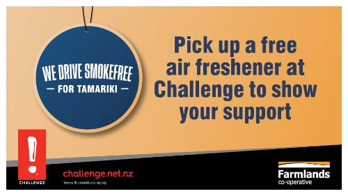 Pick up a free air freshener at Challenge to show your support